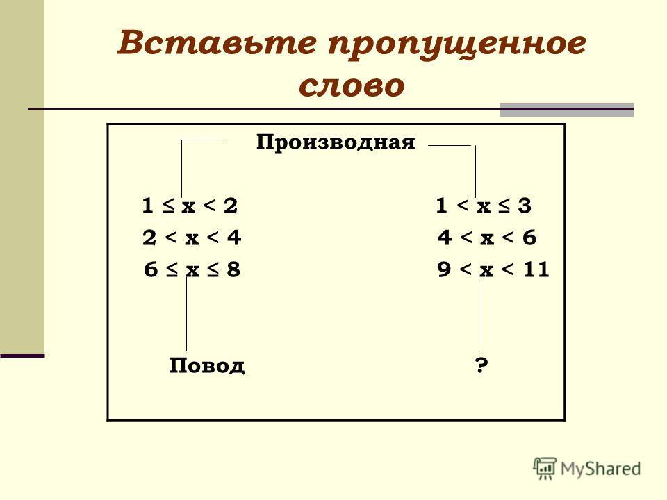 Вставьте пропущенное слово Производная 1 х < 2 1 < x 3 2 < x < 4 4 < x < 6 6 x 8 9 < x < 11 Повод ?