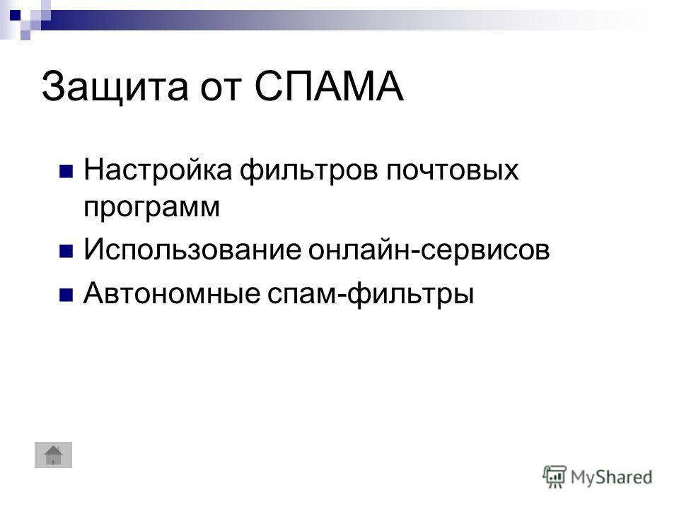 Защита от СПАМА Настройка фильтров почтовых программ Использование онлайн-сервисов Автономные спам-фильтры