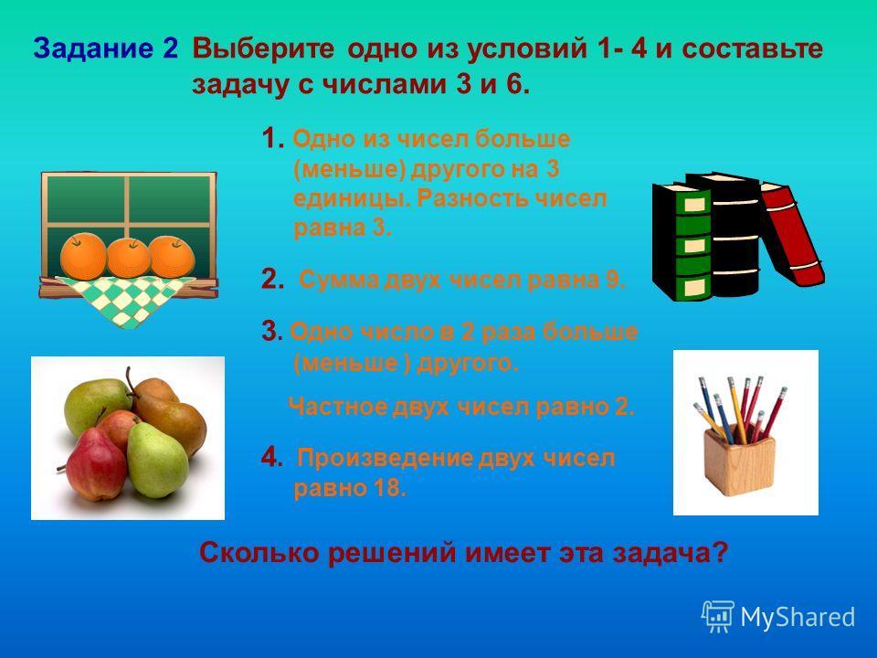 Выберите одно из условий 1- 4 и составьте задачу с числами 3 и 6. Задание 2 Сколько решений имеет эта задача? 1. Одно из чисел больше (меньше) другого на 3 единицы. Разность чисел равна 3. 2. Сумма двух чисел равна 9. 3. Одно число в 2 раза больше (м
