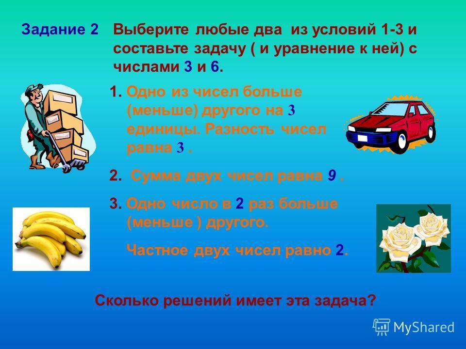 Задание 2Выберите любые два из условий 1-3 и составьте задачу ( и уравнение к ней) с числами 3 и 6. 1. Одно из чисел больше (меньше) другого на 3 единицы. Разность чисел равна 3. 2. Сумма двух чисел равна 9. 3. Одно число в 2 раз больше (меньше ) дру