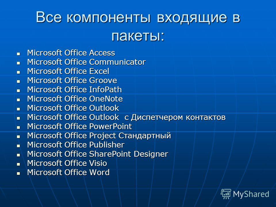 Все компоненты входящие в пакеты: Microsoft Office Access Microsoft Office Access Microsoft Office Communicator Microsoft Office Communicator Microsoft Office Excel Microsoft Office Excel Microsoft Office Groove Microsoft Office Groove Microsoft Offi