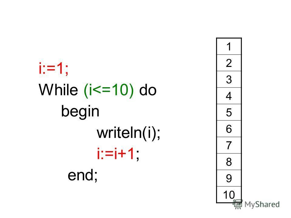 i:=1; While (i
