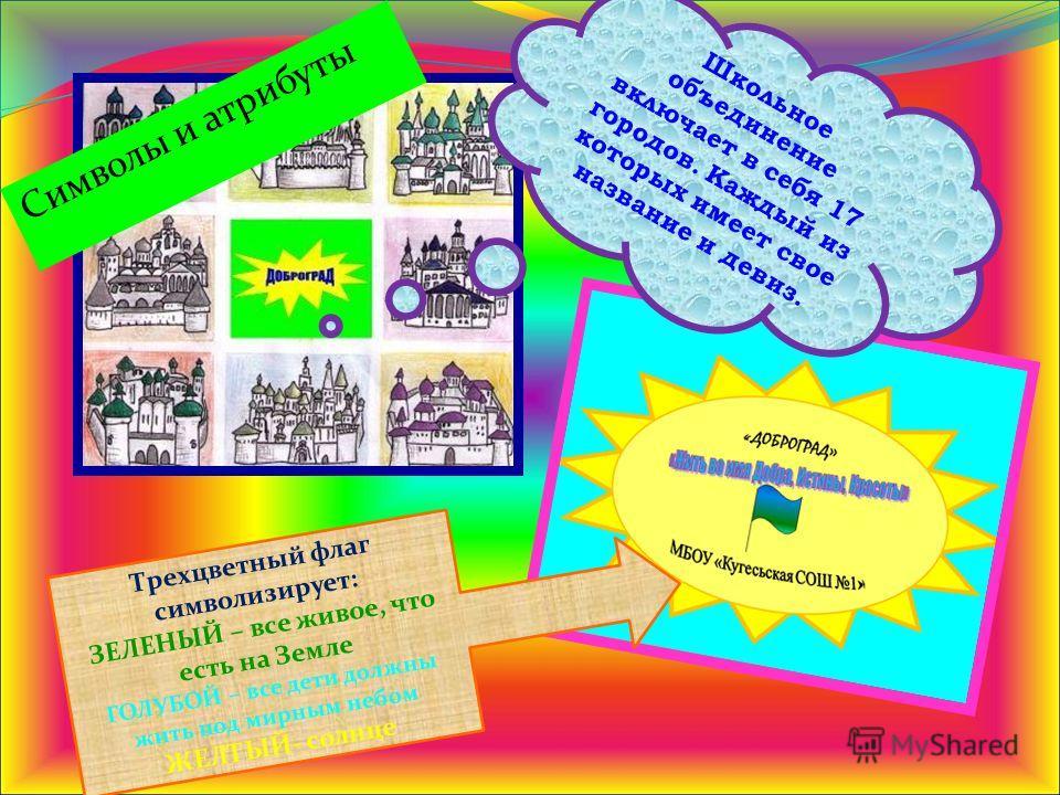 Символы и атрибуты Школьное объединение включает в себя 17 городов. Каждый из которых имеет свое название и девиз. Трехцветный флаг символизирует: ЗЕЛЕНЫЙ – все живое, что есть на Земле ГОЛУБОЙ – все дети должны жить под мирным небом ЖЕЛТЫЙ- солнце