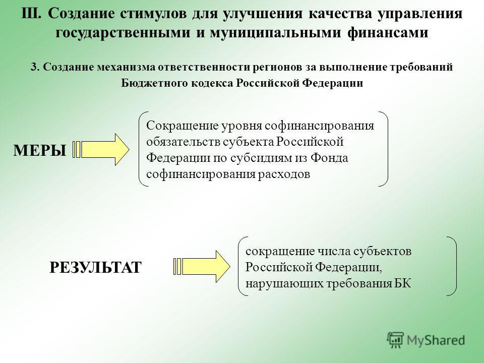 3. Создание механизма ответственности регионов за выполнение требований Бюджетного кодекса Российской Федерации МЕРЫ РЕЗУЛЬТАТ Сокращение уровня софинансирования обязательств субъекта Российской Федерации по субсидиям из Фонда софинансирования расход