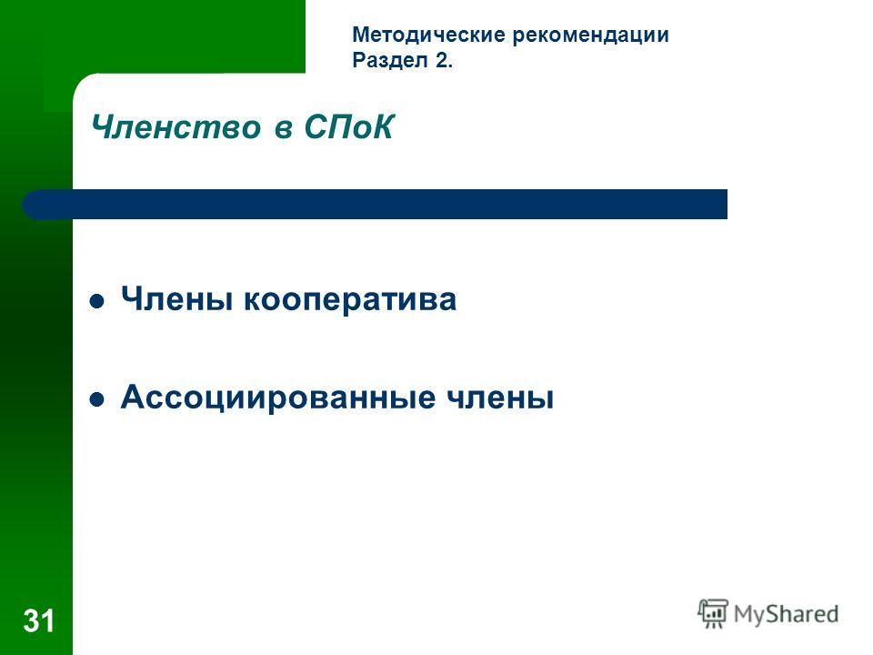 31 Членство в СПоК Члены кооператива Ассоциированные члены Методические рекомендации Раздел 2.
