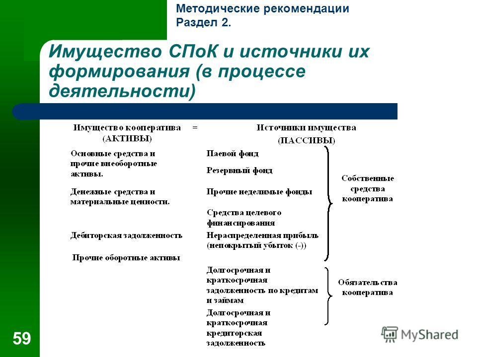 59 Имущество СПоК и источники их формирования (в процессе деятельности) Методические рекомендации Раздел 2.