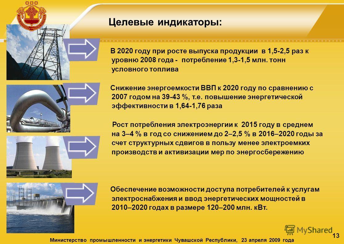 13 Целевые индикаторы: В 2020 году при росте выпуска продукции в 1,5-2,5 раз к уровню 2008 года - потребление 1,3-1,5 млн. тонн условного топлива Снижение энергоемкости ВВП к 2020 году по сравнению с 2007 годом на 39-43 %, т.е. повышение энергетическ