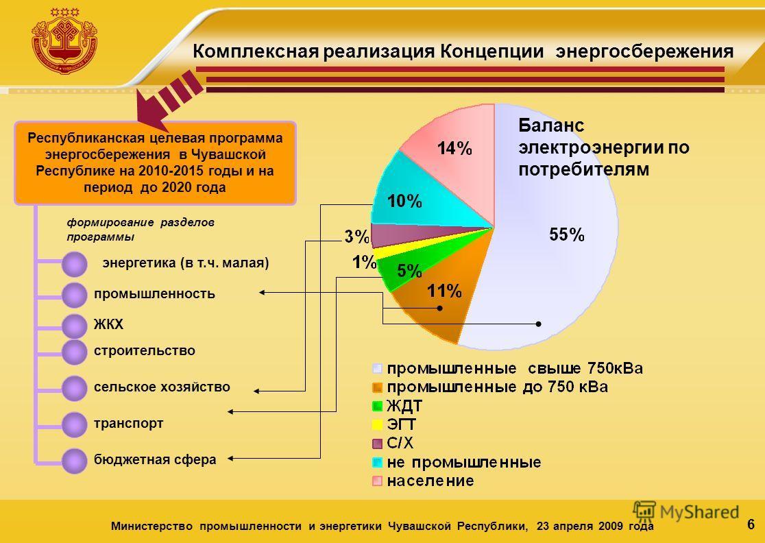 6 Комплексная реализация Концепции энергосбережения Баланс электроэнергии по потребителям Республиканская целевая программа энергосбережения в Чувашской Республике на 2010-2015 годы и на период до 2020 года формирование разделов программы энергетика