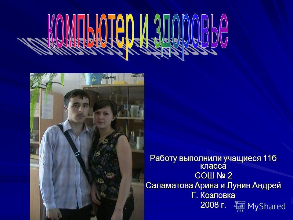 Работу выполнили учащиеся 11б класса СОШ 2 Саламатова Арина и Лунин Андрей Г. Козловка 2008 г.