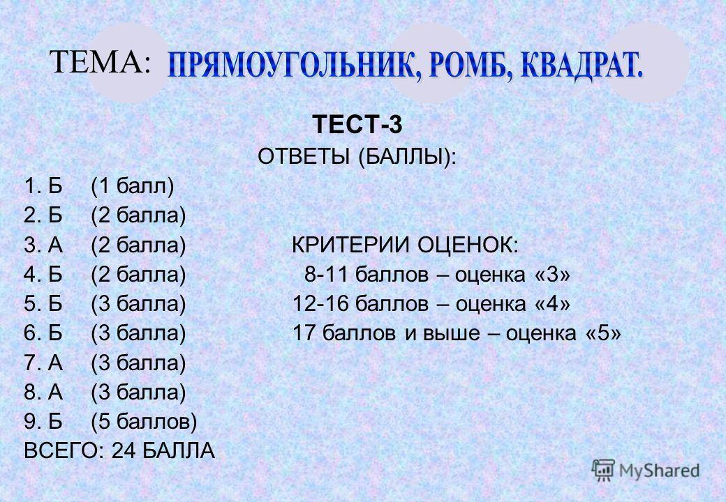 ТЕМА: ТЕСТ-3 ОТВЕТЫ (БАЛЛЫ): 1. Б(1 балл) 2. Б(2 балла) 3. А(2 балла)КРИТЕРИИ ОЦЕНОК: 4. Б(2 балла) 8-11 баллов – оценка «3» 5. Б(3 балла)12-16 баллов – оценка «4» 6. Б(3 балла)17 баллов и выше – оценка «5» 7. А(3 балла) 8. А(3 балла) 9. Б(5 баллов)