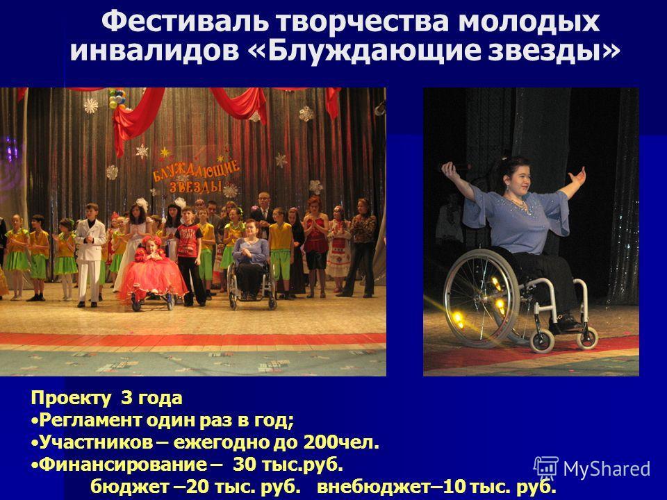 Проекту 3 года Регламент один раз в год; Участников – ежегодно до 200чел. Финансирование – 30 тыс.руб. бюджет –20 тыс. руб. внебюджет–10 тыс. руб. Фестиваль творчества молодых инвалидов «Блуждающие звезды»