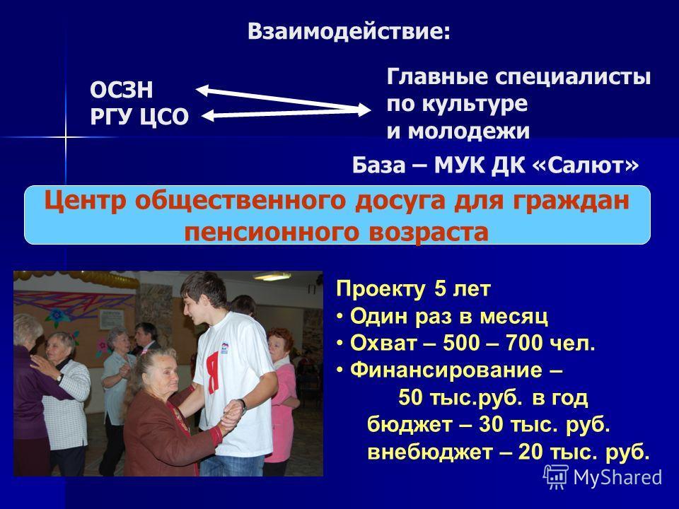 Взаимодействие: Центр общественного досуга для граждан пенсионного возраста Проекту 5 лет Один раз в месяц Охват – 500 – 700 чел. Финансирование – 50 тыс.руб. в год бюджет – 30 тыс. руб. внебюджет – 20 тыс. руб. ОСЗН РГУ ЦСО Главные специалисты по ку