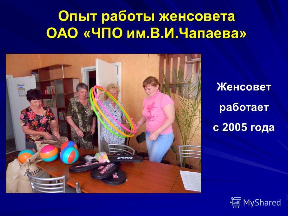 Опыт работы женсовета ОАО «ЧПО им.В.И.Чапаева» Женсовет работает с 2005 года