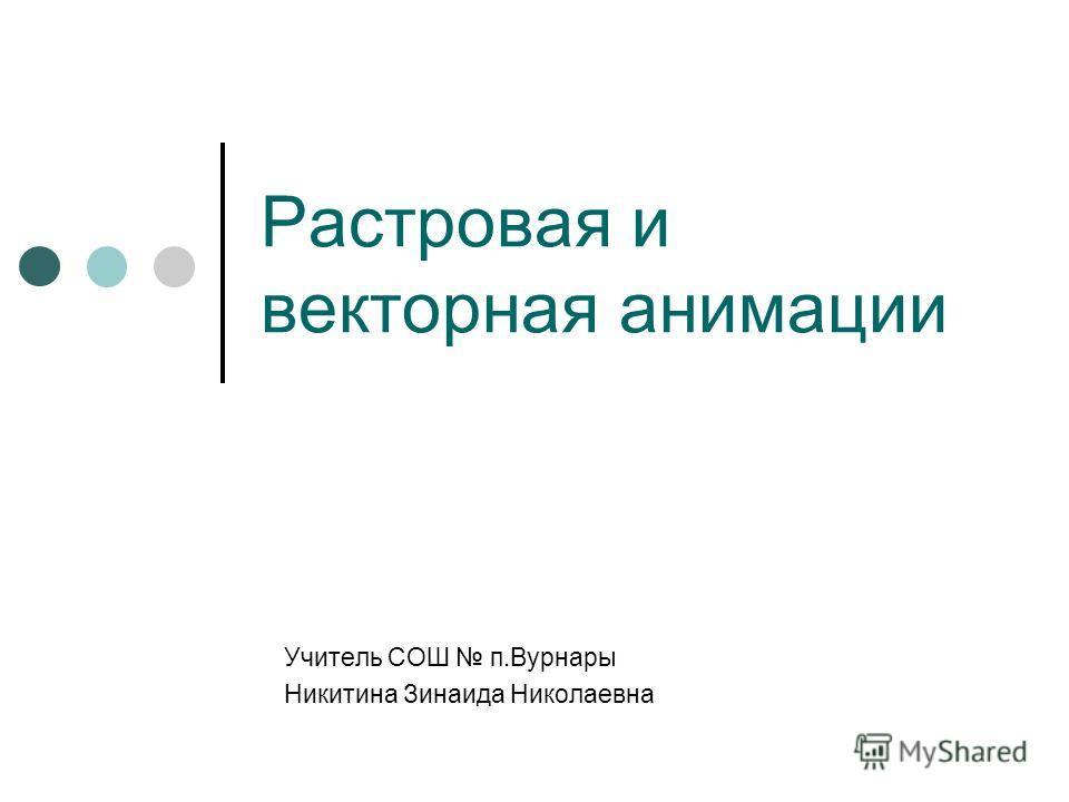 Растровая и векторная анимации Учитель СОШ п.Вурнары Никитина Зинаида Николаевна