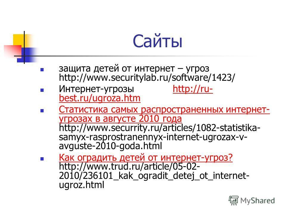 Сайты защита детей от интернет – угроз http://www.securitylab.ru/software/1423/ Интернет-угрозы http://ru- best.ru/ugroza.htmhttp://ru- best.ru/ugroza.htm Статистика самых распространенных интернет- угрозах в августе 2010 года http://www.securrity.ru