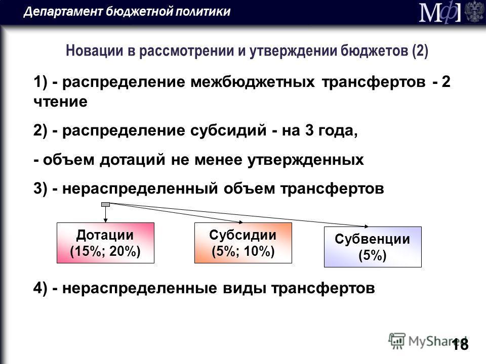 Департамент бюджетной политики 18 Новации в рассмотрении и утверждении бюджетов (2) 1) - распределение межбюджетных трансфертов - 2 чтение 2) - распределение субсидий - на 3 года, - объем дотаций не менее утвержденных 3) - нераспределенный объем тран