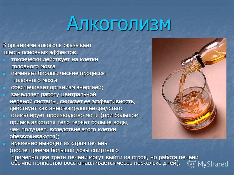 Алкоголизм В организме алкоголь оказывает шесть основных эффектов: токсически действует на клетки головного мозга изменяет биологические процессы головного мозга обеспечивает организм энергией; замедляет работу центральной нервной системы, снижает ее
