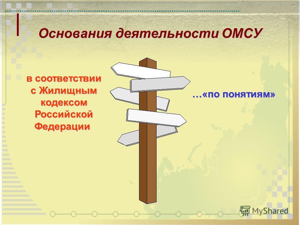 Основания деятельности ОМСУ в соответствии с Жилищным кодексомРоссийскойФедерации …«по понятиям»