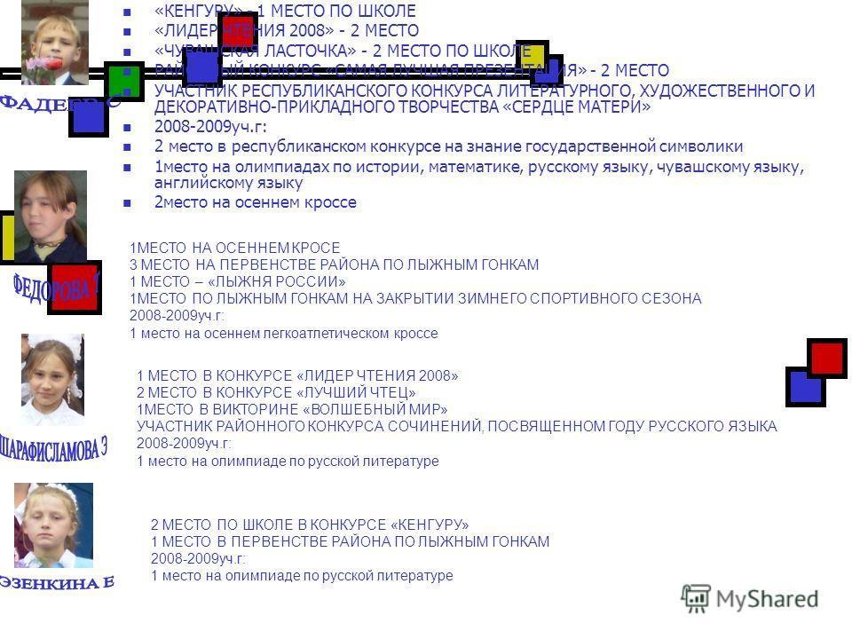 «КЕНГУРУ» - 1 МЕСТО ПО ШКОЛЕ «ЛИДЕР ЧТЕНИЯ 2008» - 2 МЕСТО «ЧУВАШСКАЯ ЛАСТОЧКА» - 2 МЕСТО ПО ШКОЛЕ РАЙОННЫЙ КОНКУРС «САМАЯ ЛУЧШАЯ ПРЕЗЕНТАЦИЯ» - 2 МЕСТО УЧАСТНИК РЕСПУБЛИКАНСКОГО КОНКУРСА ЛИТЕРАТУРНОГО, ХУДОЖЕСТВЕННОГО И ДЕКОРАТИВНО-ПРИКЛАДНОГО ТВОРЧ