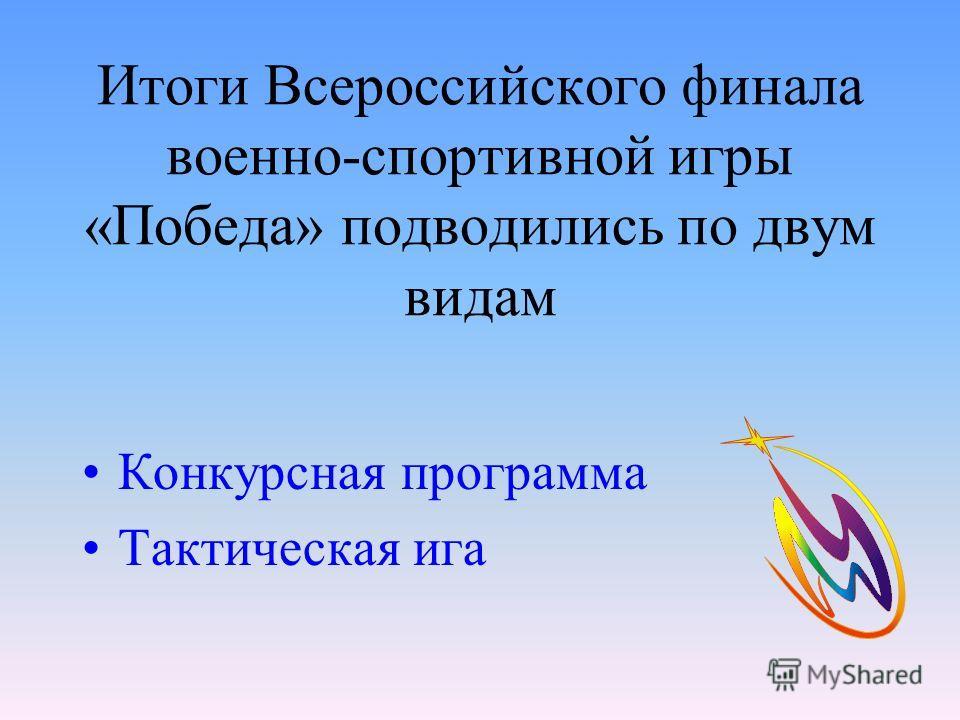 Итоги Всероссийского финала военно-спортивной игры «Победа» подводились по двум видам Конкурсная программа Тактическая ига