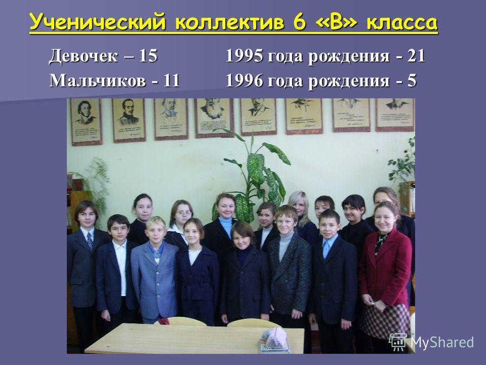 Ученический коллектив 6 «В» класса Девочек – 15 Мальчиков - 11 1995 года рождения - 21 1996 года рождения - 5