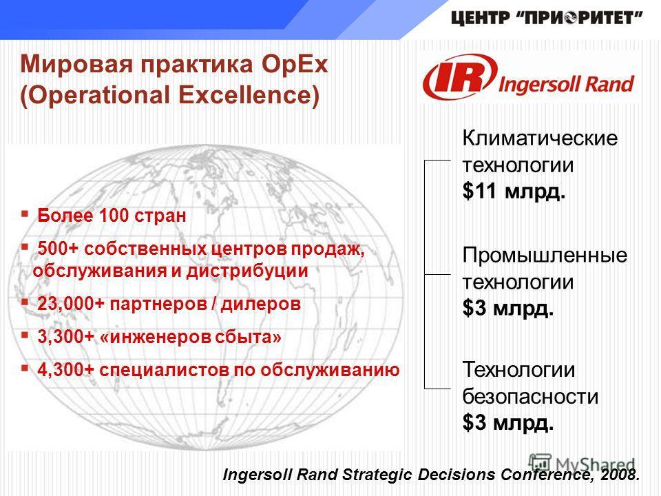Мировая практика OpEx (Operational Excellence) Более 100 стран 500+ собственных центров продаж, обслуживания и дистрибуции 23,000+ партнеров / дилеров 3,300+ «инженеров сбыта» 4,300+ специалистов по обслуживанию Климатические технологии $11 млрд. Про