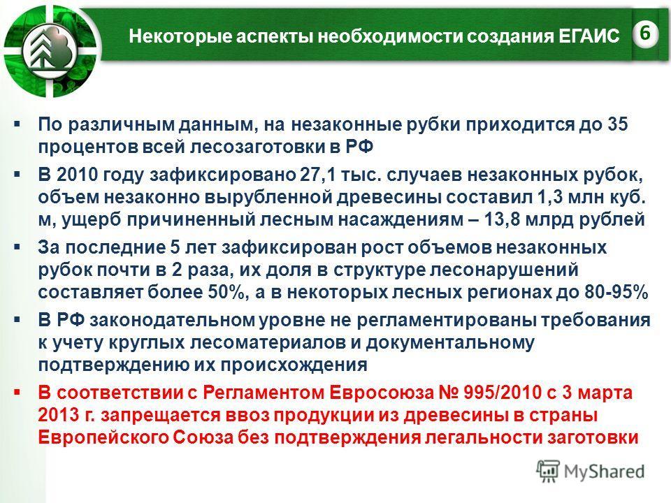 Некоторые аспекты необходимости создания ЕГАИС 6 По различным данным, на незаконные рубки приходится до 35 процентов всей лесозаготовки в РФ В 2010 году зафиксировано 27,1 тыс. случаев незаконных рубок, объем незаконно вырубленной древесины составил