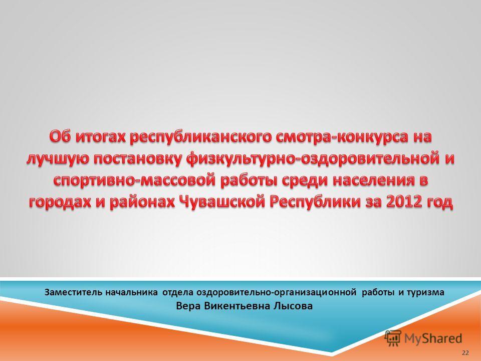 Заместитель начальника отдела оздоровительно-организационной работы и туризма Вера Викентьевна Лысова 22
