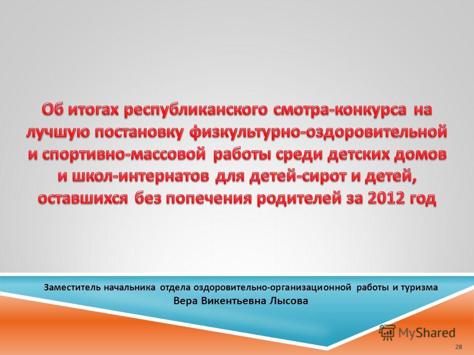 Заместитель начальника отдела оздоровительно-организационной работы и туризма Вера Викентьевна Лысова 28
