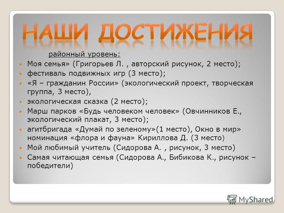 районный уровень: Моя семья» (Григорьев Л., авторский рисунок, 2 место); фестиваль подвижных игр (3 место); «Я – гражданин России» (экологический проект, творческая группа, 3 место), экологическая сказка (2 место); Марш парков «Будь человеком человек