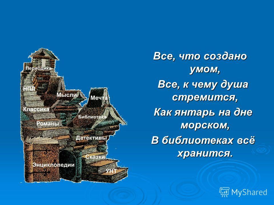 Все, что создано умом, Все, к чему душа стремится, Все, к чему душа стремится, Как янтарь на дне морском, Как янтарь на дне морском, В библиотеках всё хранится. В библиотеках всё хранится.