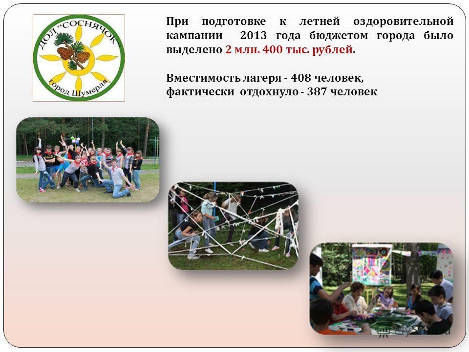 При подготовке к летней оздоровительной кампании 2013 года бюджетом города было выделено 2 млн. 400 тыс. рублей. Вместимость лагеря - 408 человек, фактически отдохнуло - 387 человек