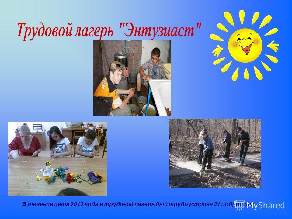 В течение лета 2012 года в трудовой лагерь был трудоустроен 31 подросток