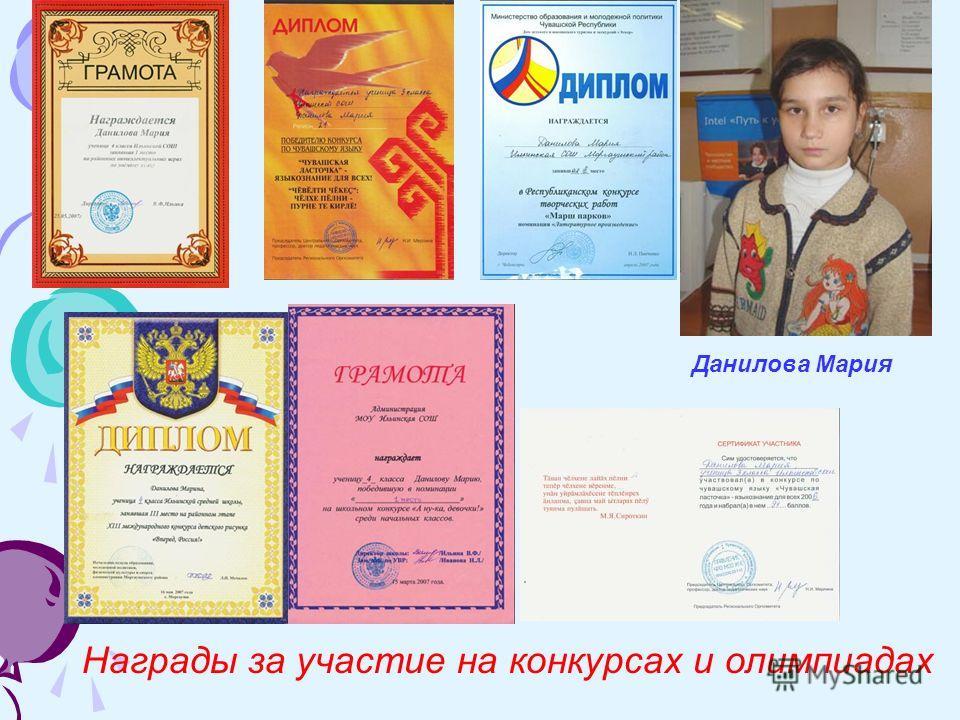 Данилова Мария Награды за участие на конкурсах и олимпиадах