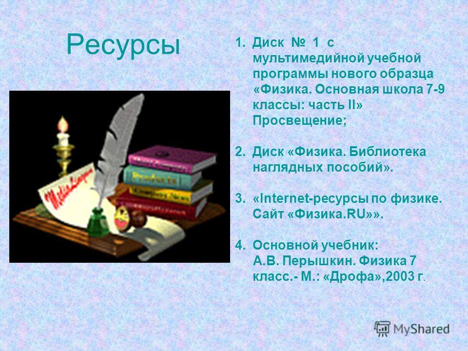 Ресурсы 1.Диск 1 с мультимедийной учебной программы нового образца «Физика. Основная школа 7-9 классы: часть II» Просвещение; 2.Диск «Физика. Библиотека наглядных пособий». 3.«Internet-ресурсы по физике. Сайт «Физика.RU»». 4.Основной учебник: А.В. Пе