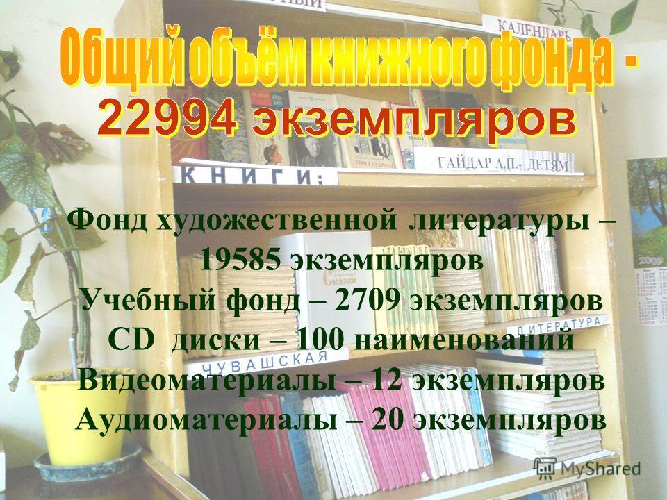 Фонд художественной литературы – 19585 экземпляров Учебный фонд – 2709 экземпляров CD диски – 100 наименований Видеоматериалы – 12 экземпляров Аудиоматериалы – 20 экземпляров