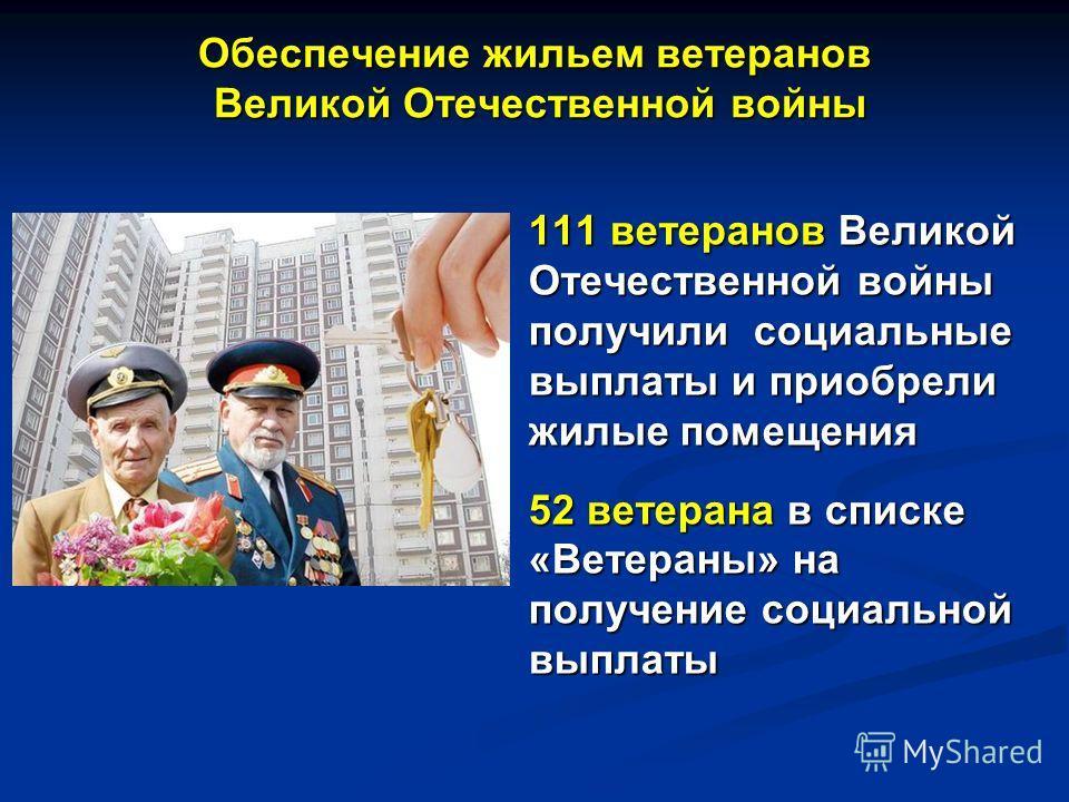 Обеспечение жильем ветеранов Великой Отечественной войны 111 ветеранов Великой Отечественной войны получили социальные выплаты и приобрели жилые помещения 52 ветерана в списке «Ветераны» на получение социальной выплаты