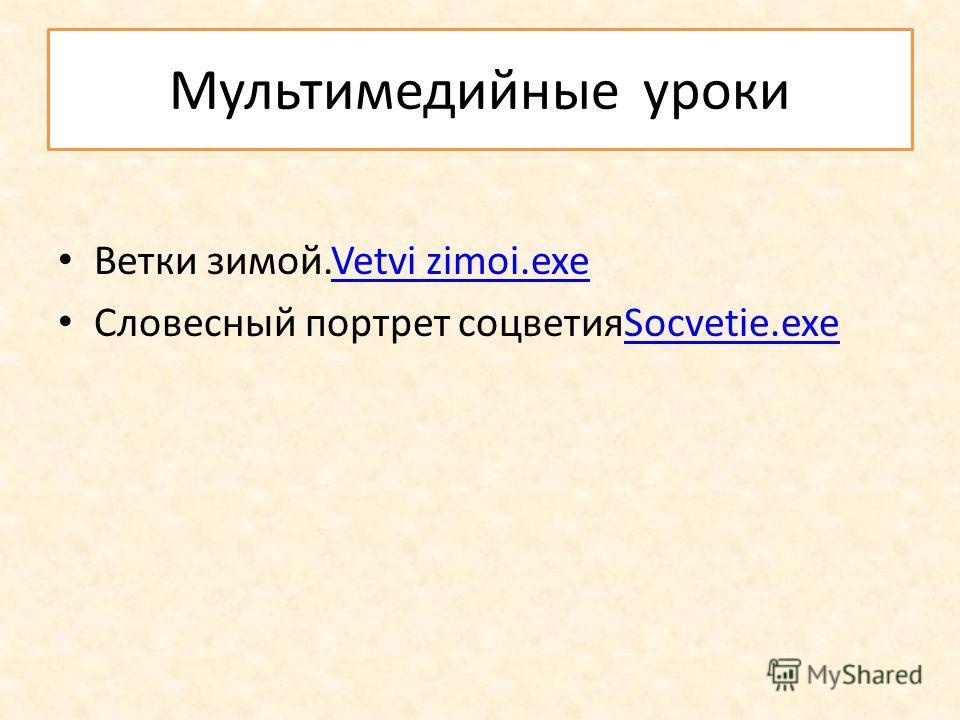 Мультимедийные уроки Ветки зимой.Vetvi zimoi.exeVetvi zimoi.exe Словесный портрет соцветияSocvetie.exeSocvetie.exe