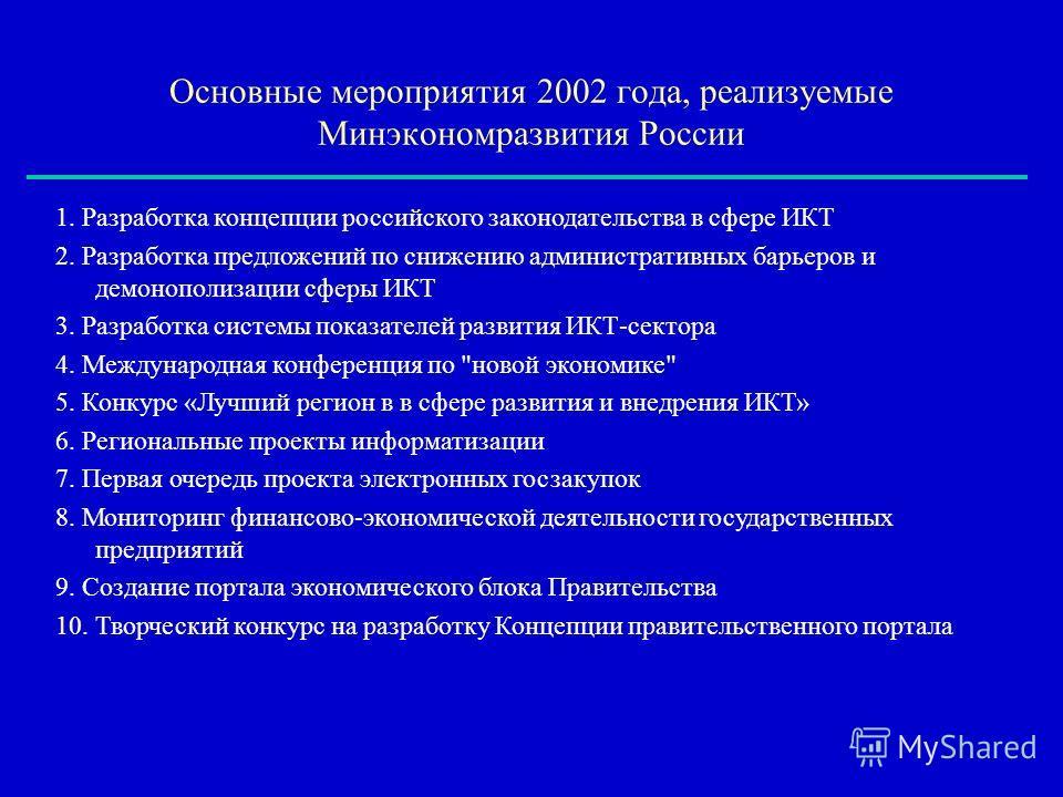 Основные мероприятия 2002 года, реализуемые Минэкономразвития России 1. Разработка концепции российского законодательства в сфере ИКТ 2. Разработка предложений по снижению административных барьеров и демонополизации сферы ИКТ 3. Разработка системы по