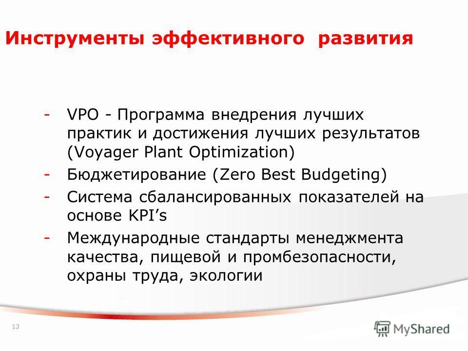 13 Инструменты эффективного развития -VPO - Программа внедрения лучших практик и достижения лучших результатов (Voyager Plant Optimization) -Бюджетирование (Zero Best Budgeting) -Система сбалансированных показателей на основе KPIs -Международные стан