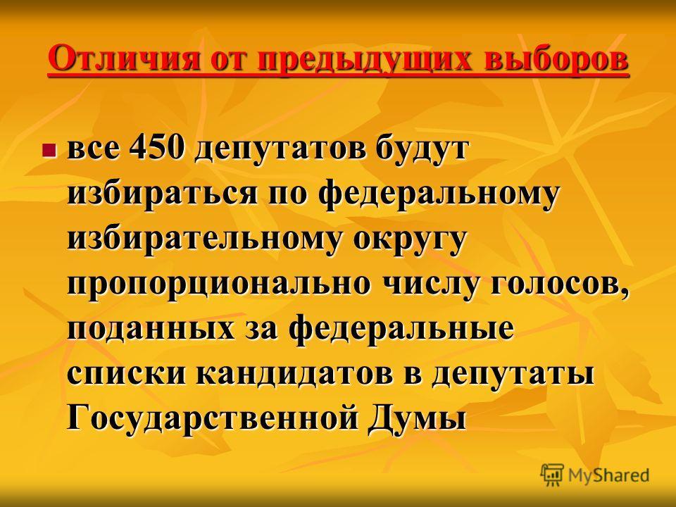 Отличия от предыдущих выборов все 450 депутатов будут избираться по федеральному избирательному округу пропорционально числу голосов, поданных за федеральные списки кандидатов в депутаты Государственной Думы все 450 депутатов будут избираться по феде