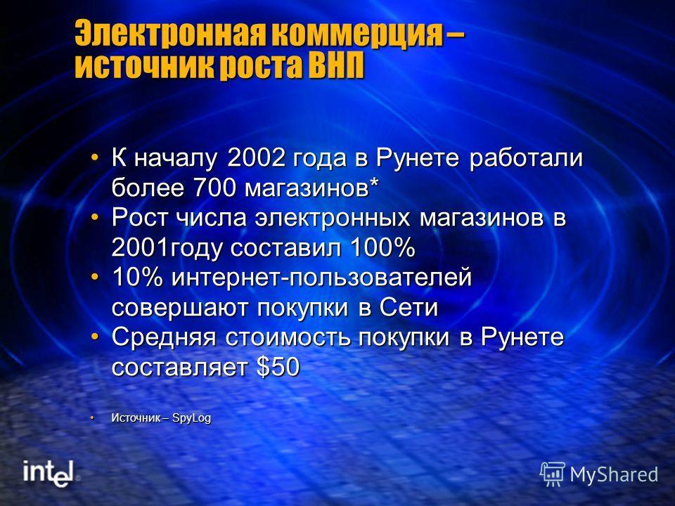 Электронная коммерция – источник роста ВНП К началу 2002 года в Рунете работали более 700 магазинов*К началу 2002 года в Рунете работали более 700 магазинов* Рост числа электронных магазинов в 2001году составил 100%Рост числа электронных магазинов в