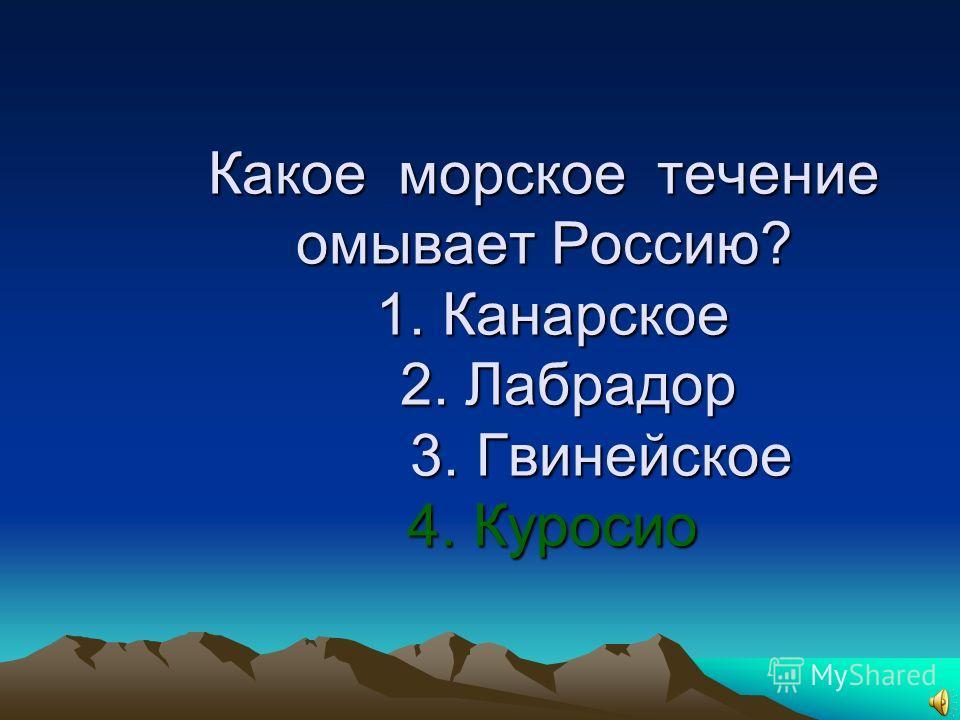 19. Какое морское течение омывает Россию? 1. Канарское 2. Лабрадор 3. Гвинейское 4. Куросио