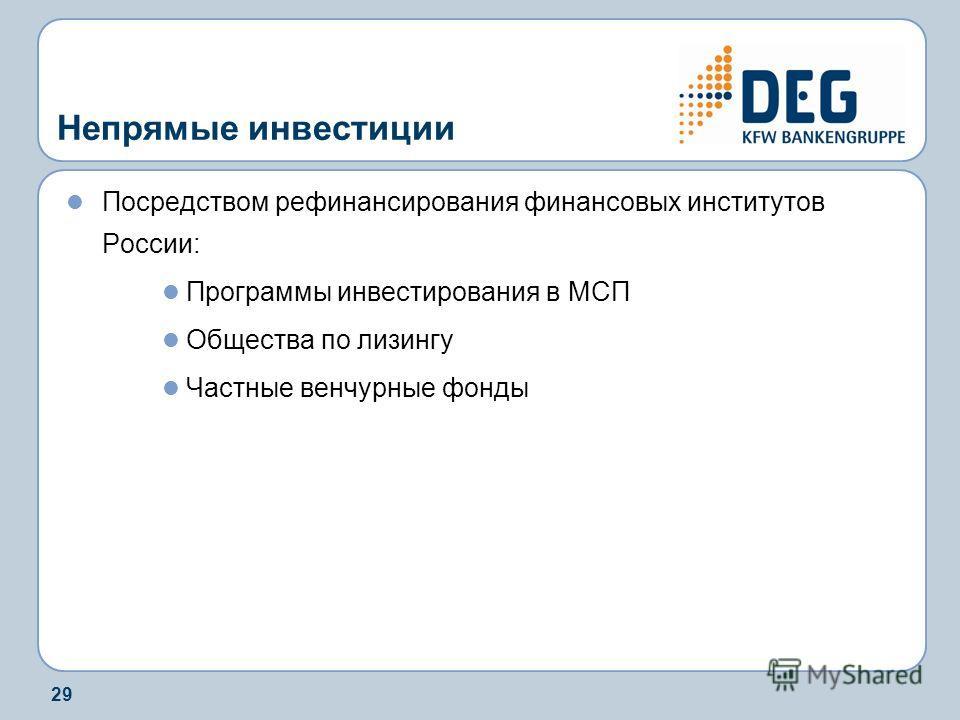 29 Непрямые инвестиции Посредством рефинансирования финансовых институтов России: Программы инвестирования в МСП Общества по лизингу Частные венчурные фонды