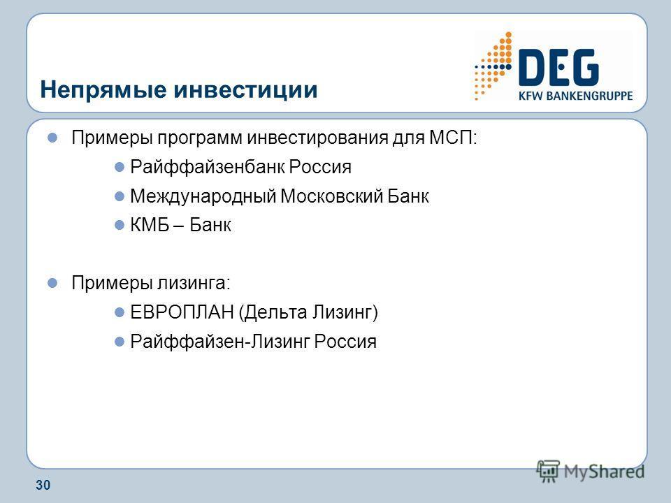 30 Непрямые инвестиции Примеры программ инвестирования для МСП: Райффайзенбанк Россия Международный Московский Банк КМБ – Банк Примеры лизинга: ЕВРОПЛАН (Дельта Лизинг) Райффайзен-Лизинг Россия