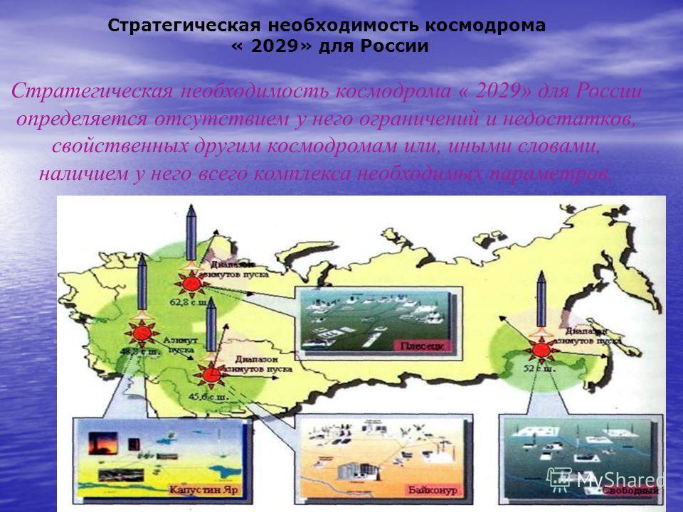 Уникальное географическое положение космодрома «2029» Новый российский космодром « 2029