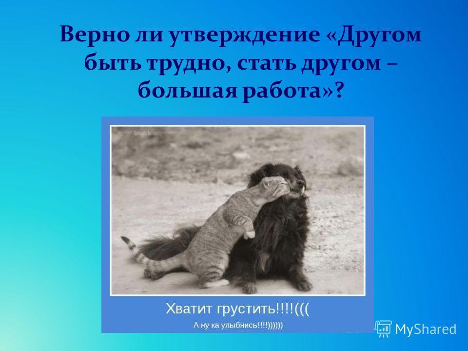 Верно ли утверждение «Другом быть трудно, стать другом – большая работа»?