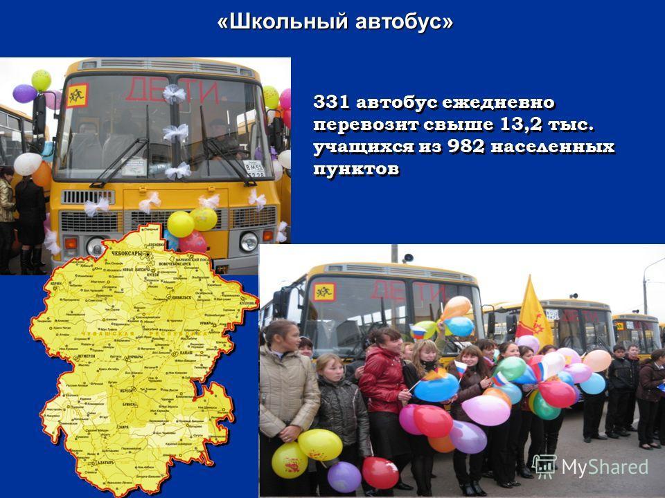 «Школьный автобус» «Школьный автобус» 331 автобус ежедневно перевозит свыше 13,2 тыс. учащихся из 982 населенных пунктов 4