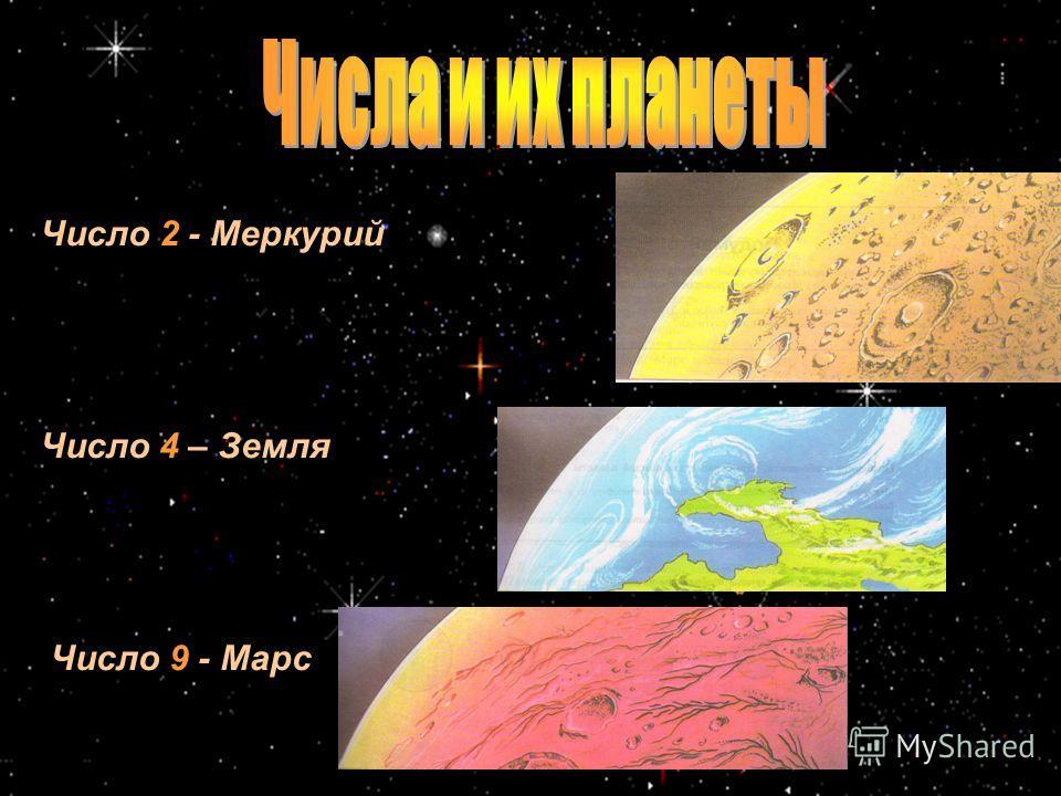 Число 2 - Меркурий Число 4 – Земля Число 9 - Марс