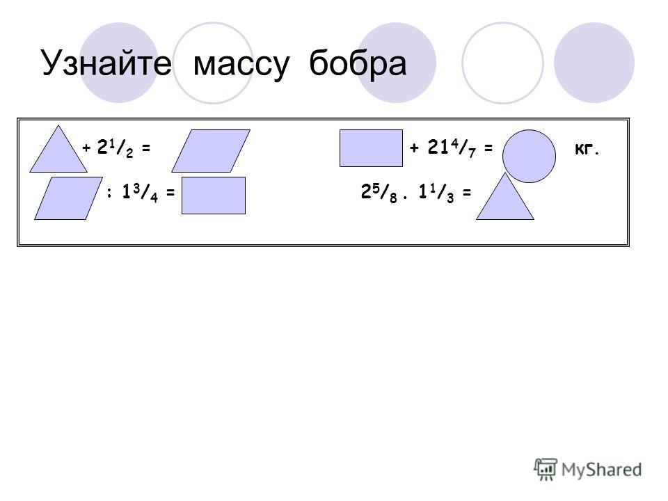 Узнайте массу бобра + 2 1 / 2 = + 21 4 / 7 = кг. : 1 3 / 4 = 2 5 / 8 1 1 / 3 =